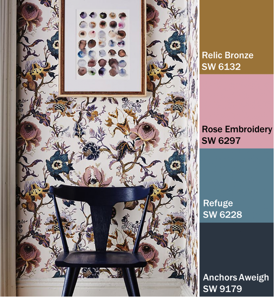 Floral Wallpaper and Blue Painted Chair