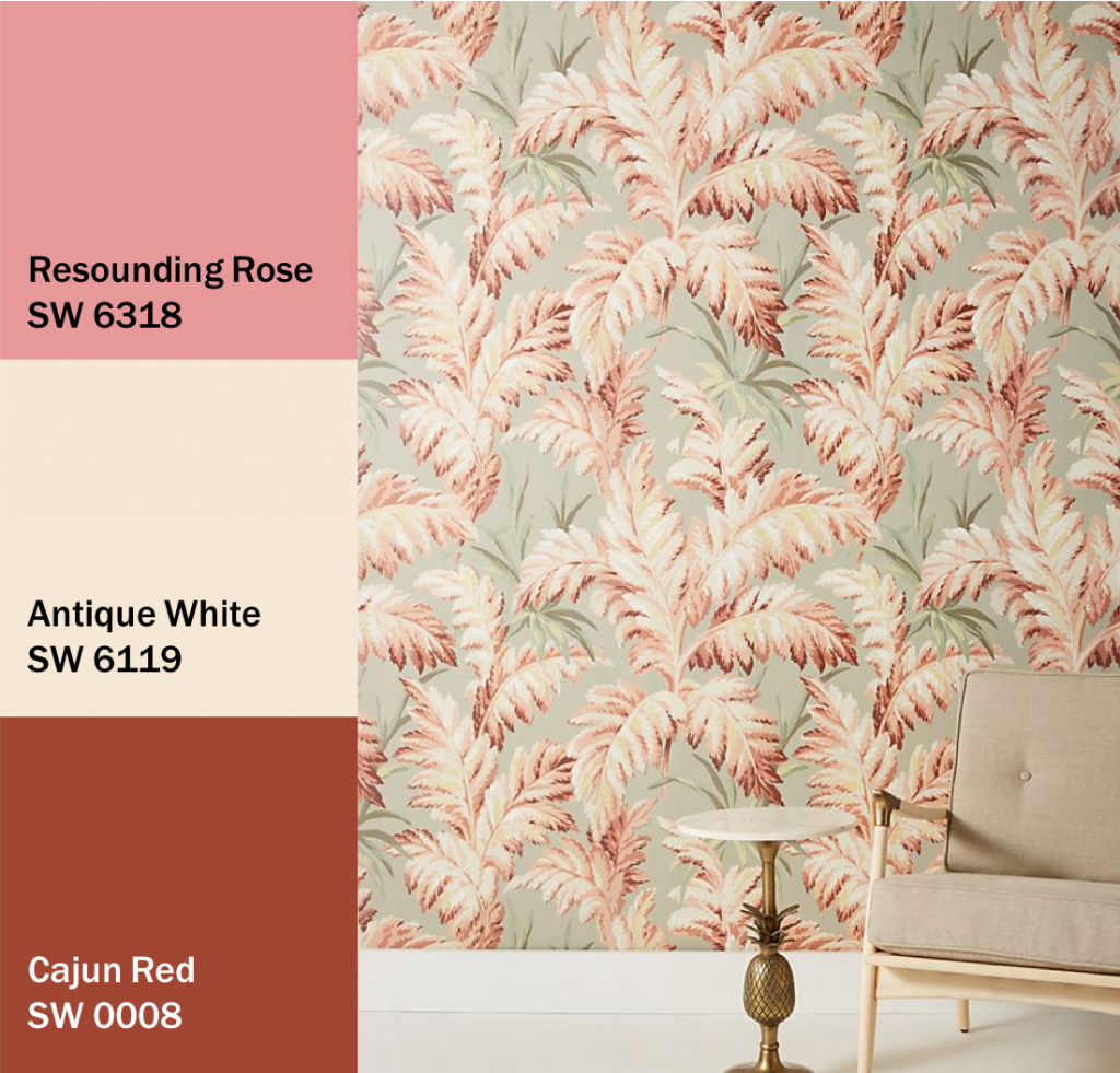Pink and Red Floral Print Wallpaper