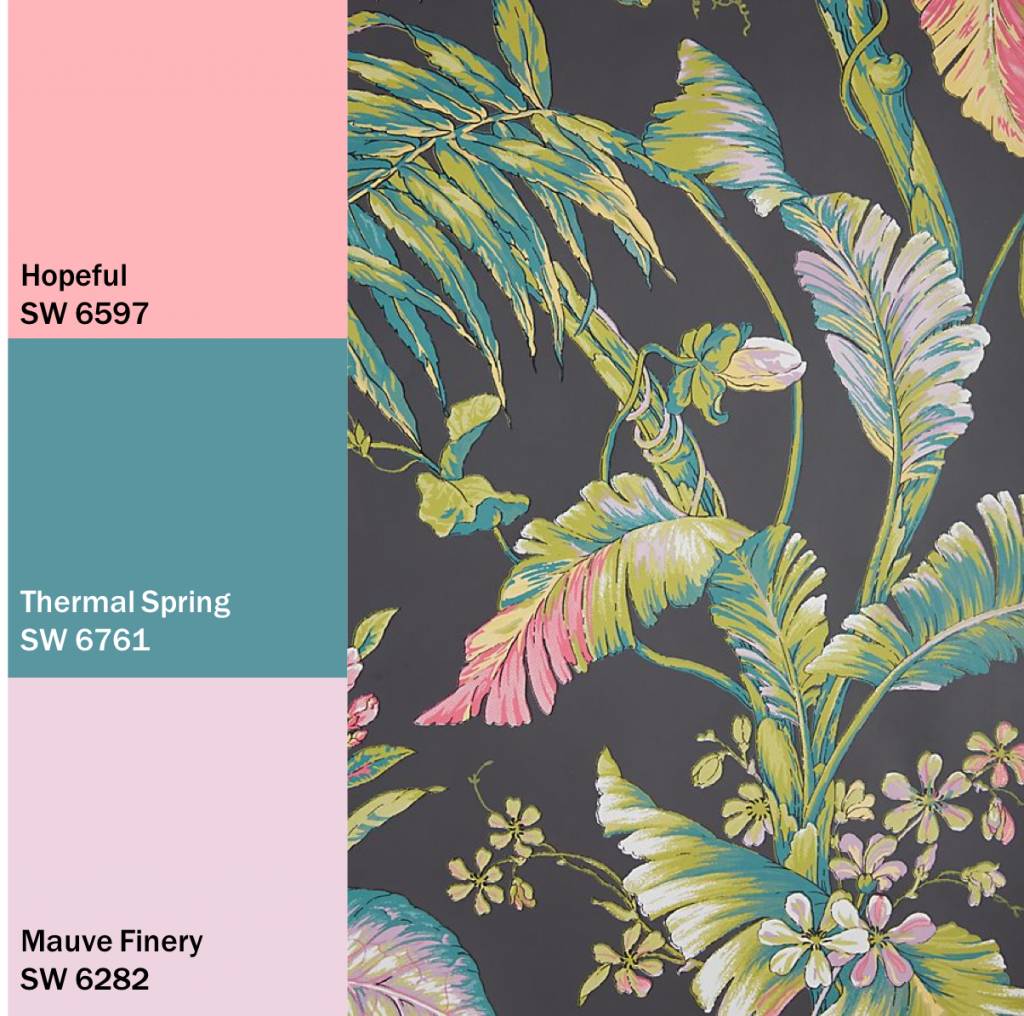 Green Plants and Floral Wallpaper with Paint Swatches