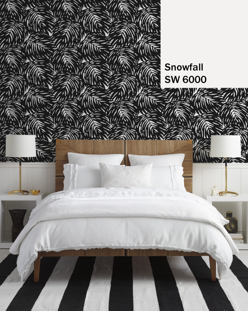 Snowfall Paint with Black Leaf Print Wallpaper
