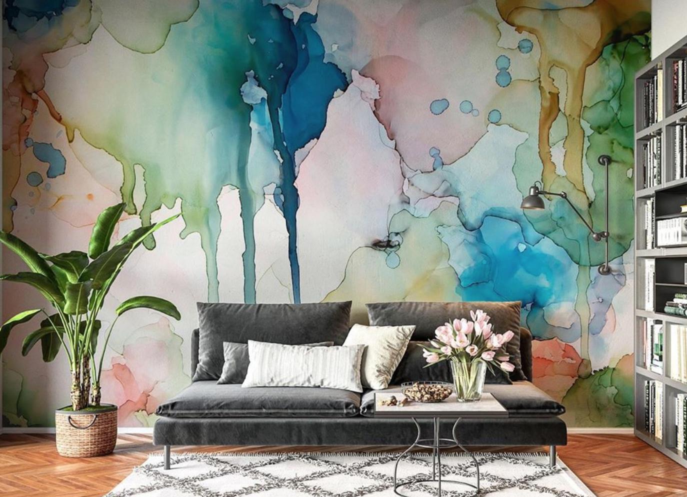 water-color inspired wallpaper design by amanda moody