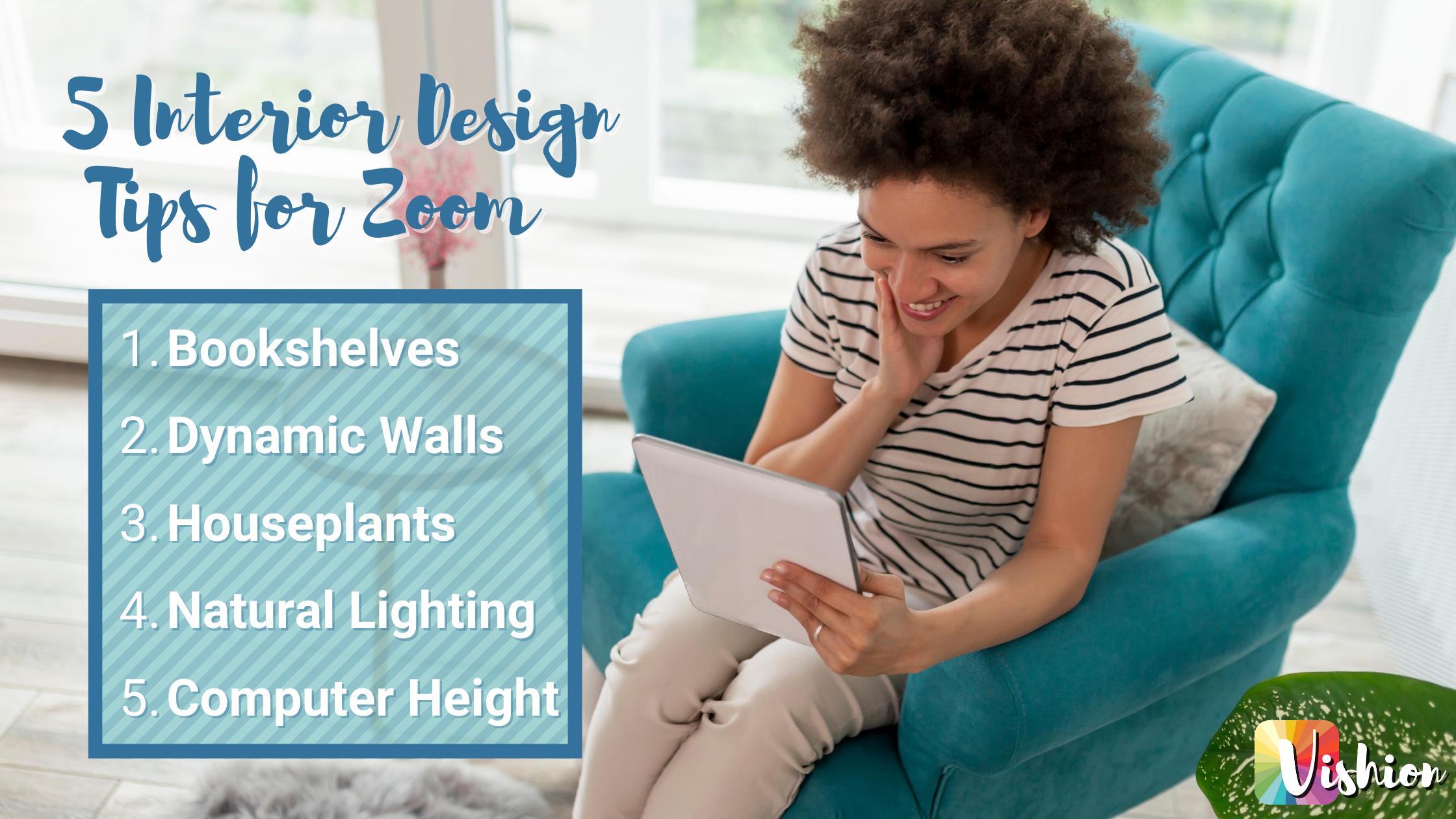 5 Interior Design Tips for Zoom Grpahic