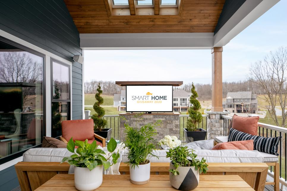 exterior deck by the HGTV smart home