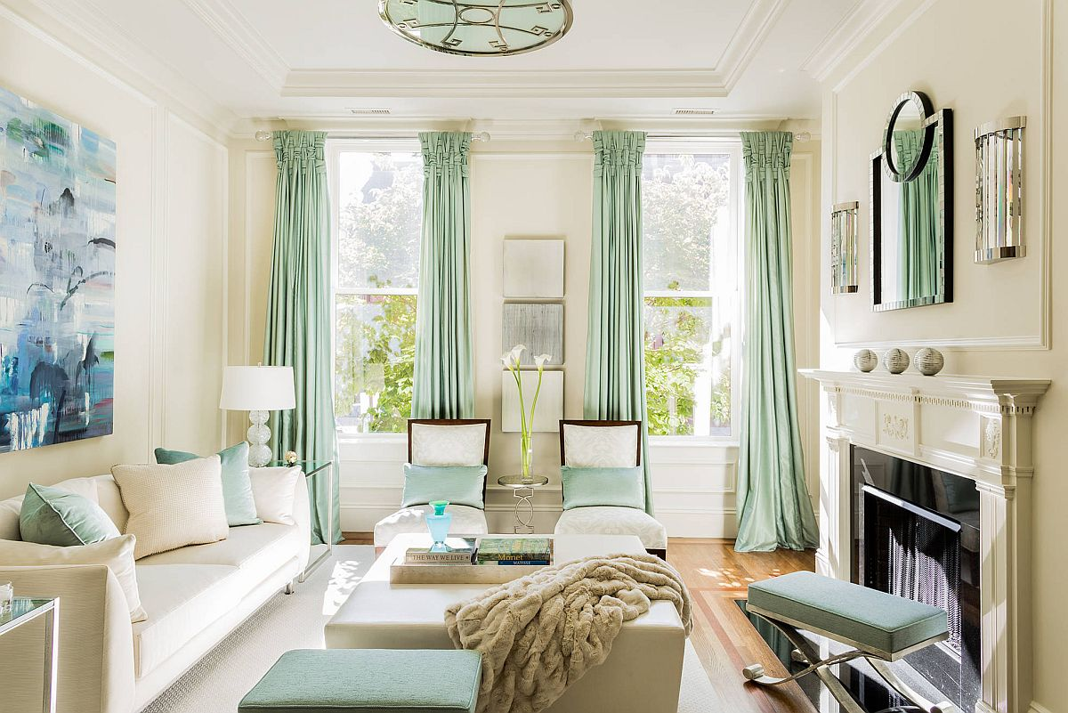 seafoam and white living room design