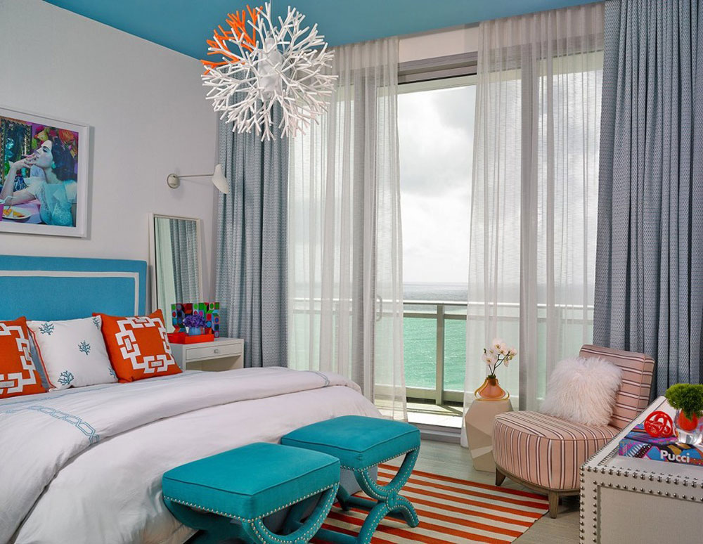 aqua and coral bedroom design