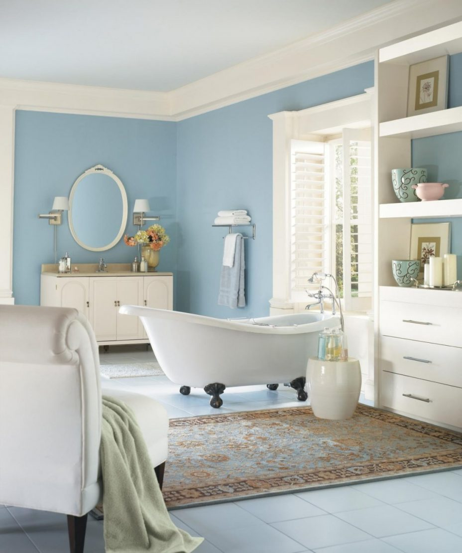 blue and beige bathroom design