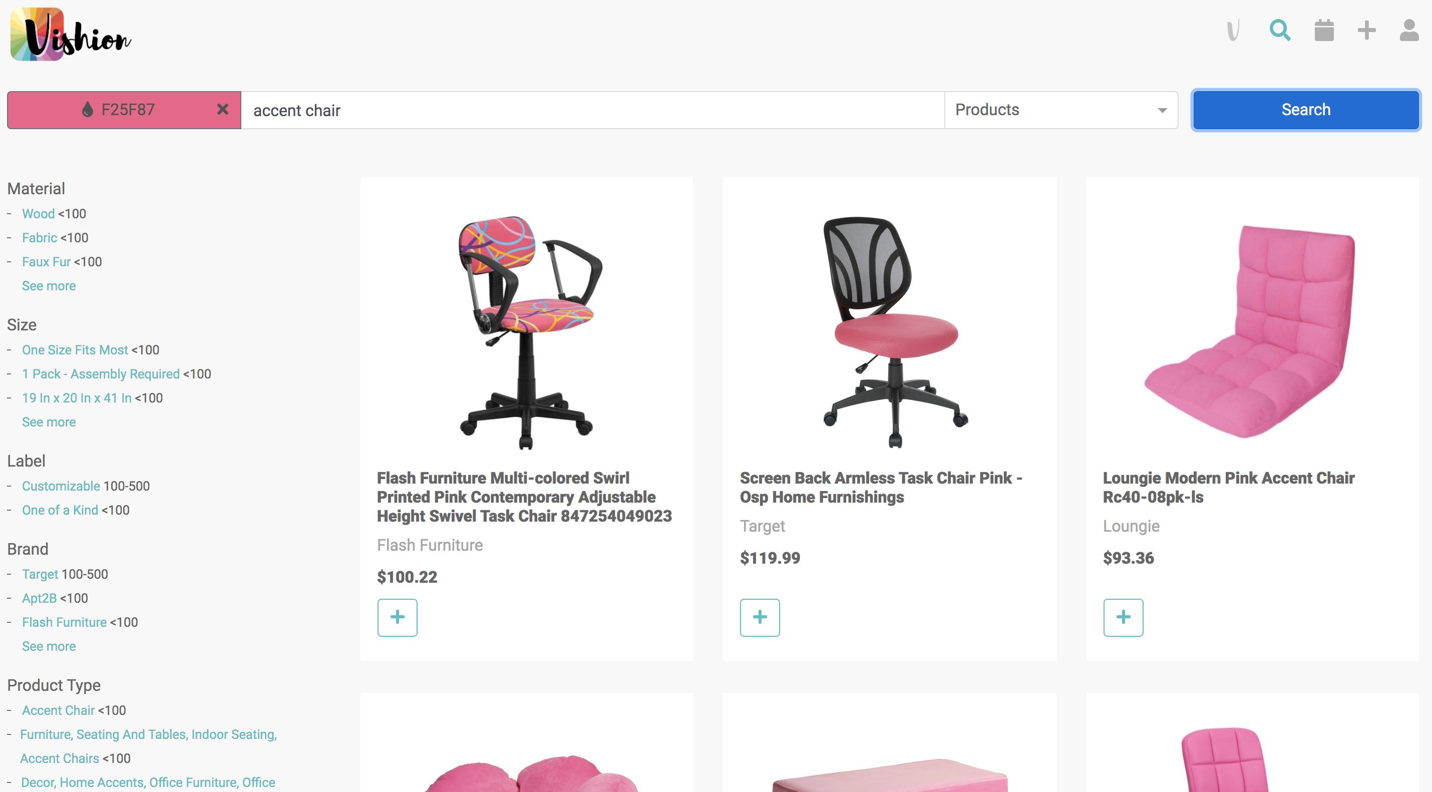 Pink Vishion Color Search