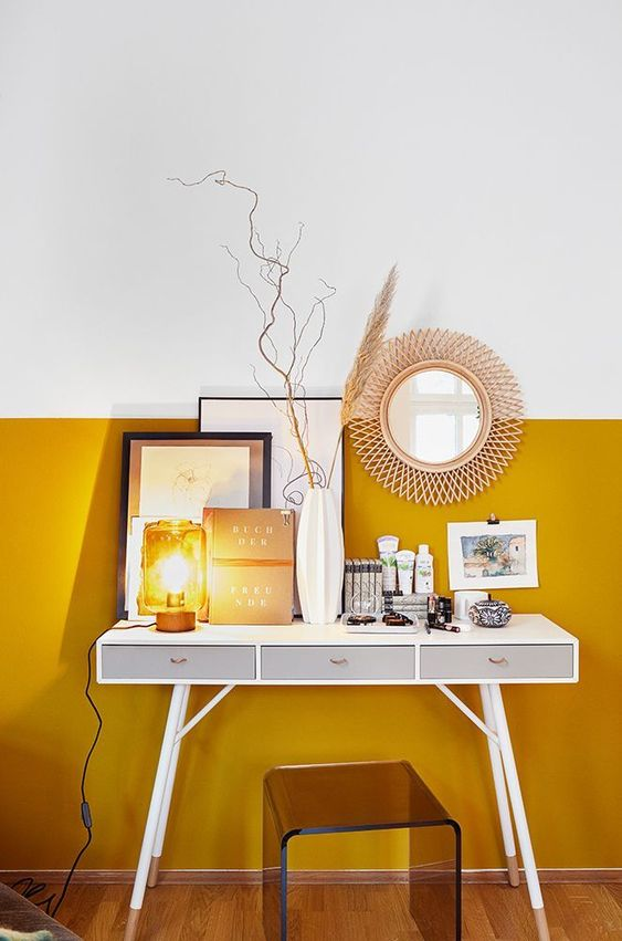 home office paint idea in marigold yellow