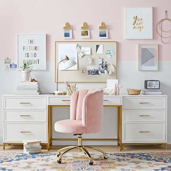 home office idea wall paint dusty pink