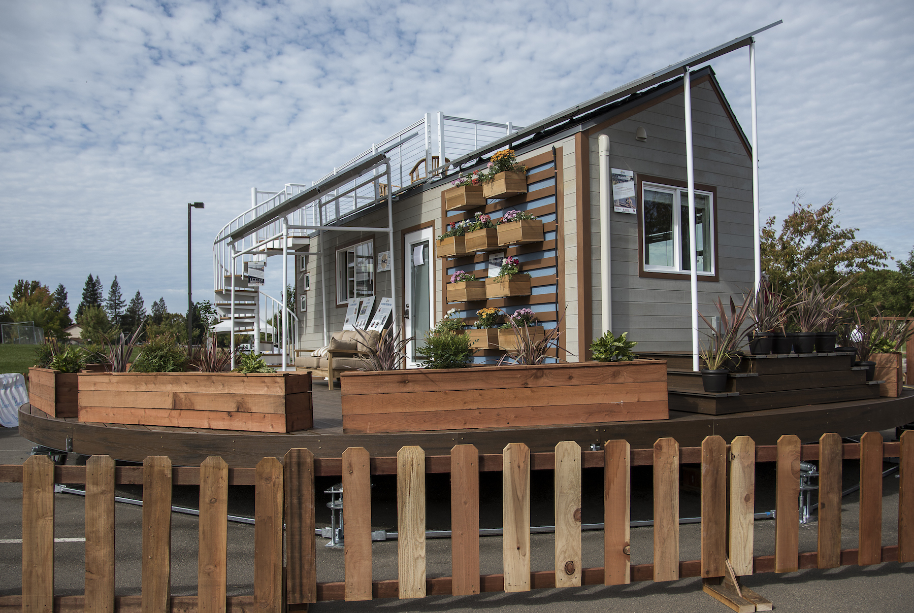 Tiny house with solar panels
