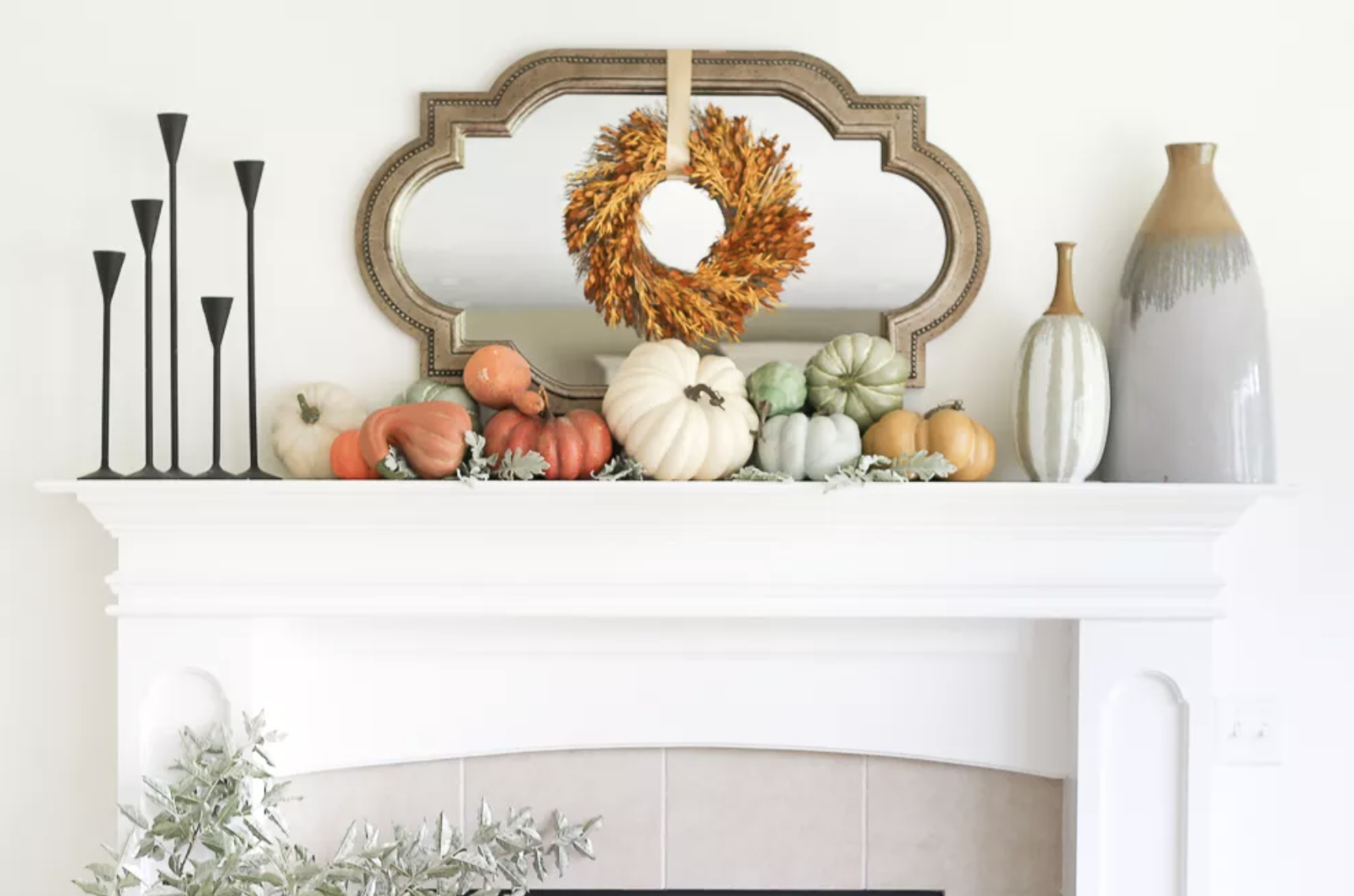 Colorful Mantel with Pumpkins