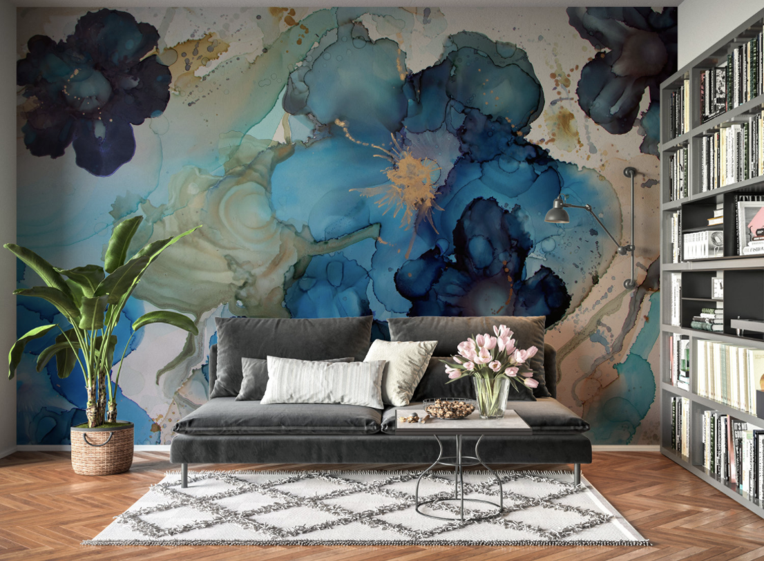 blue flower wallpaper mural